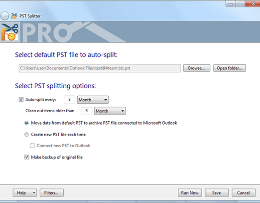 Freeware to split PST files and archive Outlook data